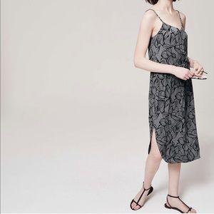 Loft Charcoal Floral Midi Dress